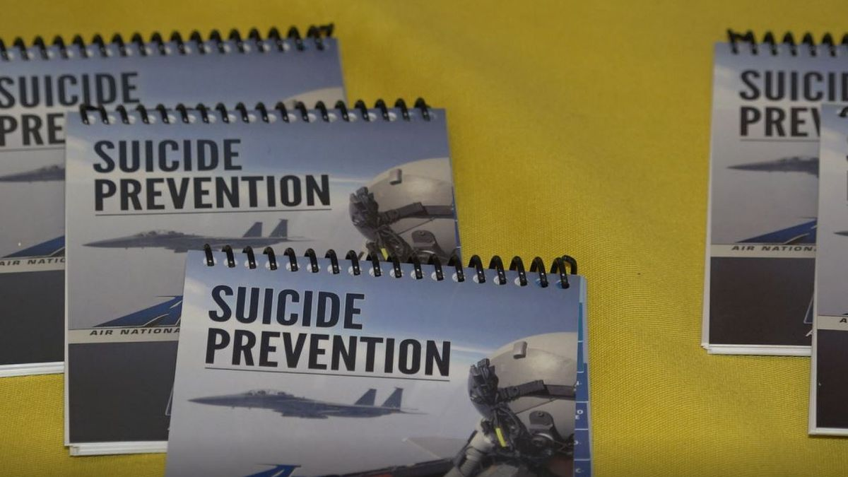 Suicide prevention notebooks at the Wyoming National Guard Joint Forces Readiness Center...