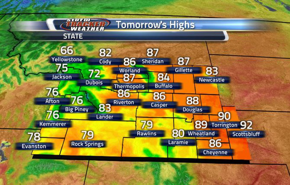 Temperatures will heat back into the 80s tomorrow.