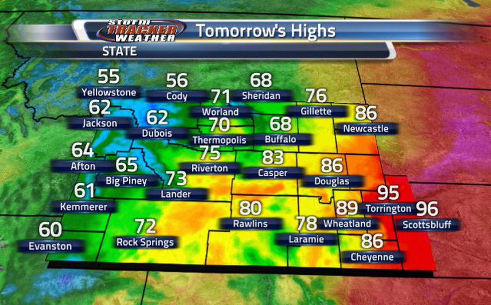 Tomorrow, the Cowboy State is going to see a huge variety in high temperatures.