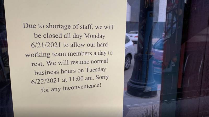 The sign on Sanford's door on Monday June 22, 2021.