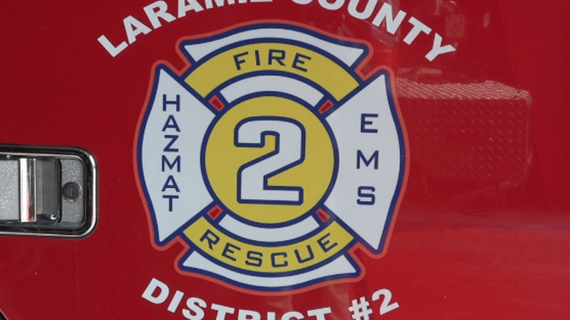 Laramie County Fire District 2's logo on the side of one of their trucks