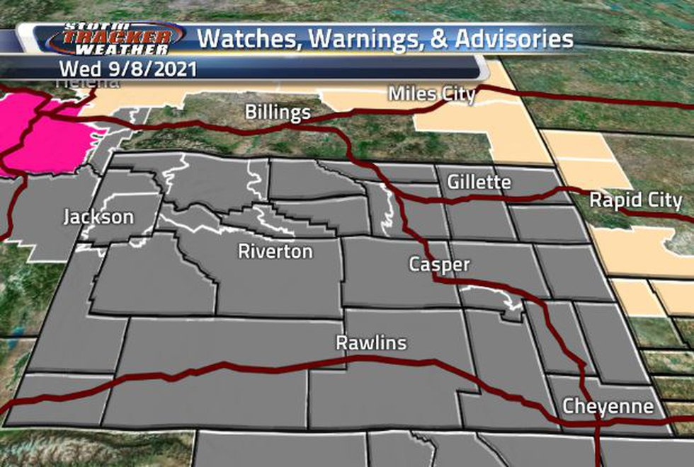 The entire state of Wyoming is covered in Air Quality Warnings.