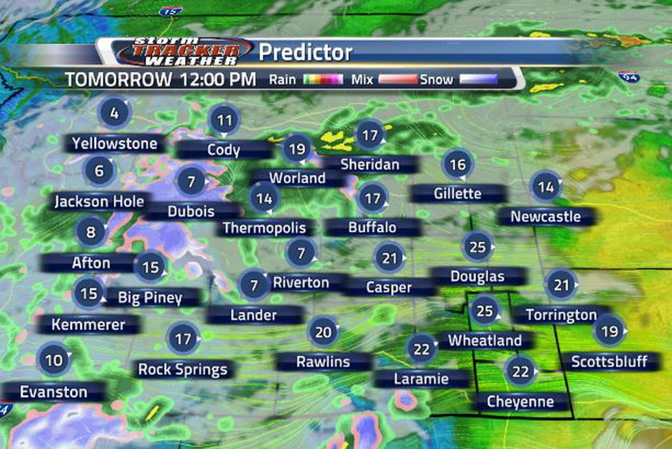 Continue to see showers tomorrow as wind speeds pick up.