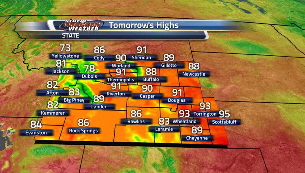 Tomorrow, the state will be warming up to the 80s and low- to mid-90s.