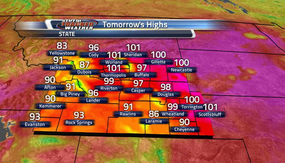 Tomorrow, we can expect to see upper 90s and triple digits dominating much of the state as the...