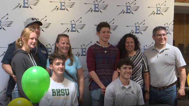 Levi Smith (seated left) is heading to Black Hills State to join the Track and Cross Country...