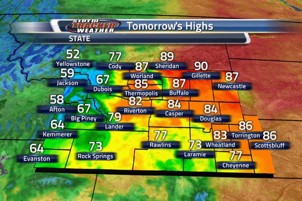 Temperatures will continue to be in the 70s and 80s tomorrow.