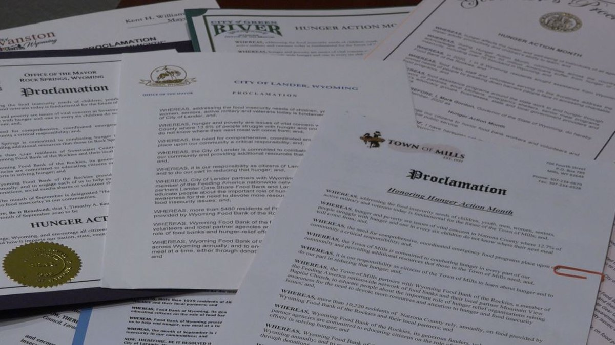 Signed proclamations for Hunger Action Month
