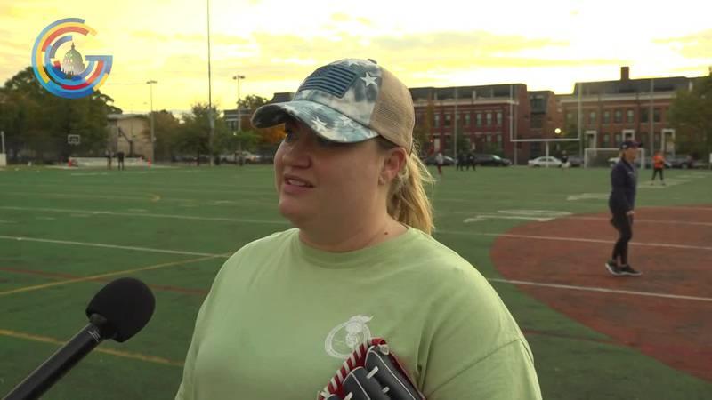 Rep. Kat Cammack (R-Fl). in congressional women's softball game