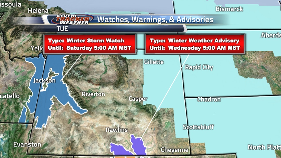 Watches and Warning over Wyoming