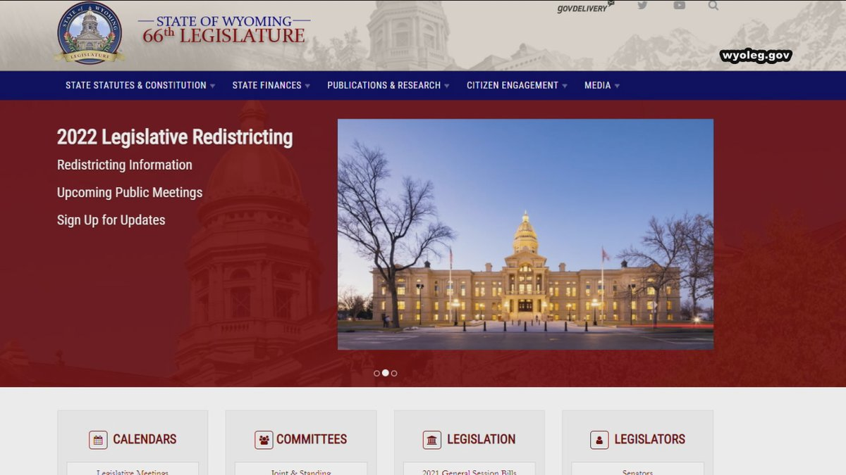 The Wyoming Redistricting Website can be found at wyoleg.gov