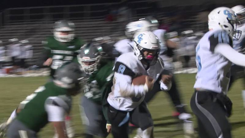 Cade Pugh (#8) rushes for one of his four touchdowns against Kelly Walsh on Friday, Oct. 15,...